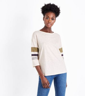 Olive Green Slouchy Stripe Sleeve T-Shirt
