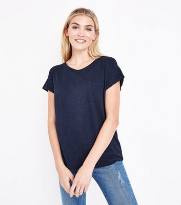 Navy Organic Cotton Pocket Front T-Shirt