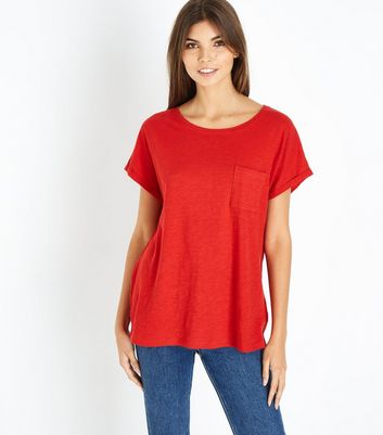 Red Organic Cotton Pocket Front T-Shirt
