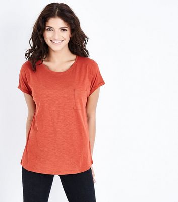 Coral Organic Cotton Pocket Front T-Shirt