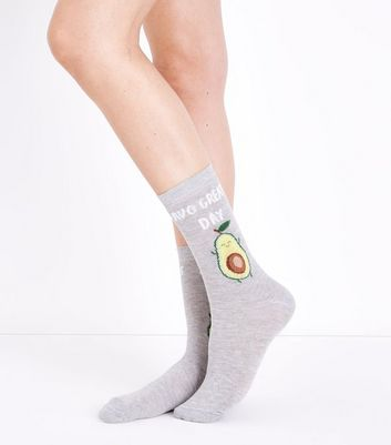 Chaussettes gris clair à slogan Avo Great Day
