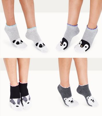 Sneakersocken in Grau mit Animal-Print, 4er-Pack