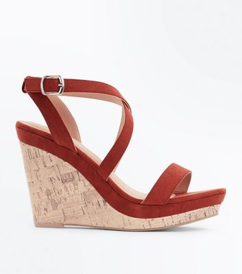 Rust Suedette Strappy Cork Wedges