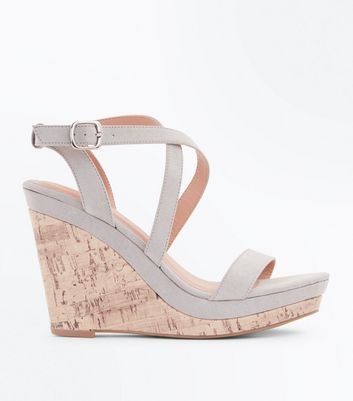 Mint Green Suedette Strappy Cork Wedges