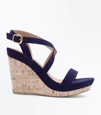 Navy Suedette Strappy Cork Wedges