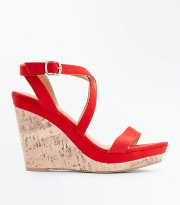 Red Suedette Strappy Cork Wedges