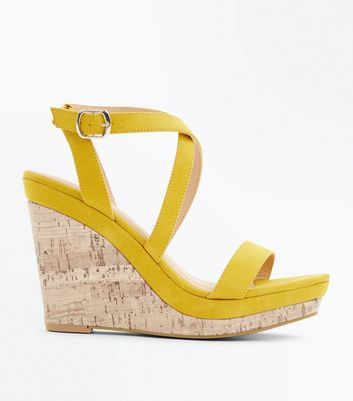 Mustard Suedette Strappy Cork Wedges