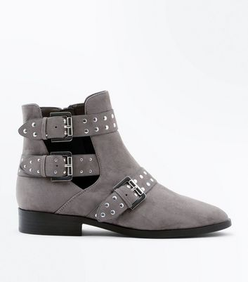 Wide Fit Grey Suedette Cut Out Buckle Side Boots