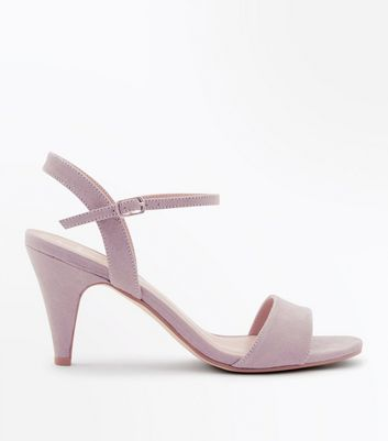 Wide Fit Grey Cone Heel Ankle Strap Sandals