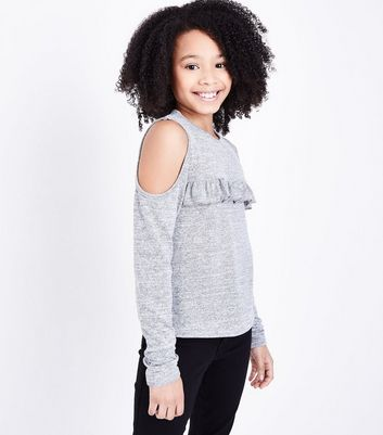 Teens Grey Frill Front Cold Shoulder Top