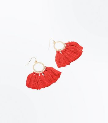 Red Tassel Fan Hoop Earrings