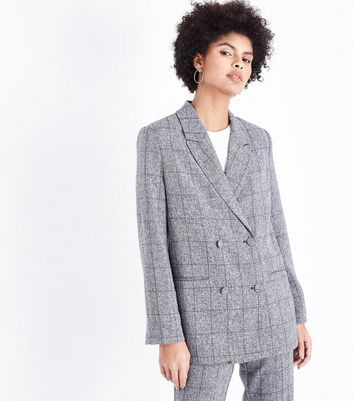 Parisian Grey Check Double Breasted Suit Jacket