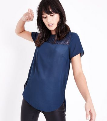 Blue Metallic Spot Mesh Yoke Top