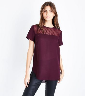 Burgundy Metallic Spot Mesh Yoke Top