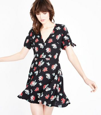 Black Floral Print V Neck Tie Sleeve Dress