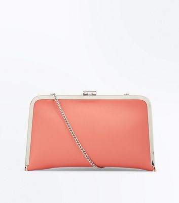 Coral Framed Clutch Bag