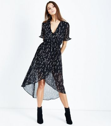 Black Floral Chiffon Dip Hem Midi Dress