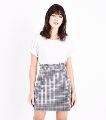 Grey Prince of Wales Check Paperbag Mini Skirt