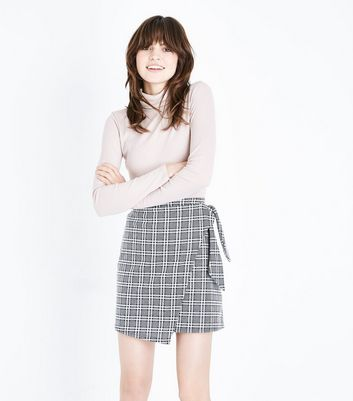 Light Grey Prince of Wales Check Tie Side Skirt
