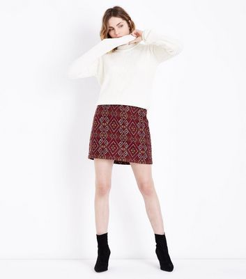 Red Aztec Jacquard Mini Skirt
