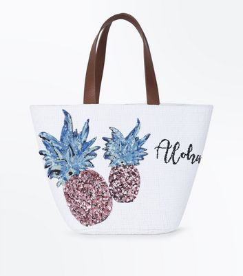 Cream Aloha Slogan Pineapple Basket Bag