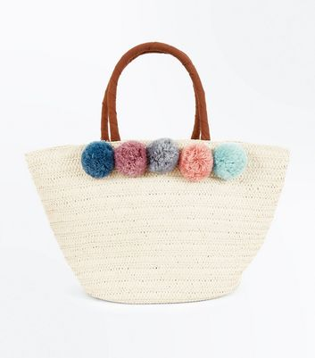 Cream Pom Pom Trim Basket Bag