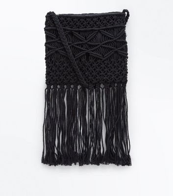 Black Macrame Fringed Cross Body Bag
