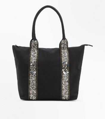 Black Sequin Panel Tote Bag