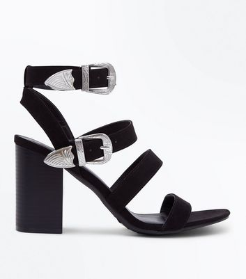 Black Suedette Western Buckle Heeled Sandals