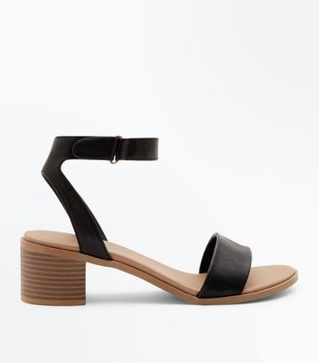 Black Low Block Heel Flexible Sole Sandals