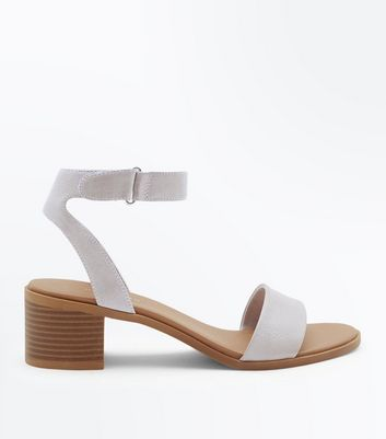 Grey Low Block Heel Flexible Sole Sandals