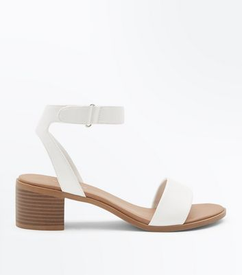 White Low Block Heel Flexible Sole Sandals