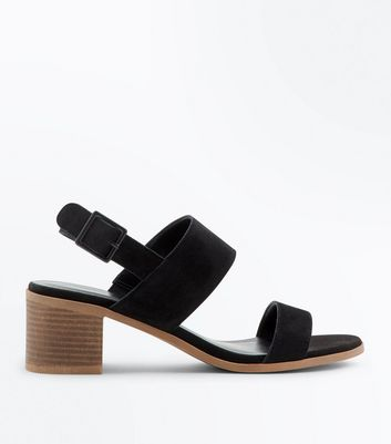 Black Suede Low Block Heel Sandals