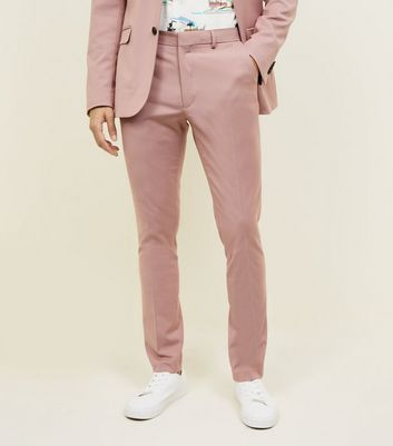 Pink Slim Fit Suit Trousers