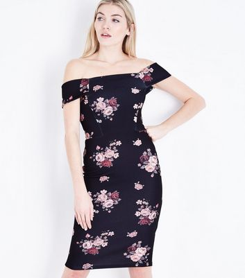 Black Floral Bardot Neck Bodycon Dress