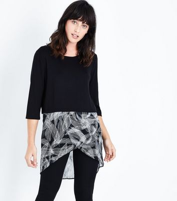 Apricot Black Feather Print Hem Top