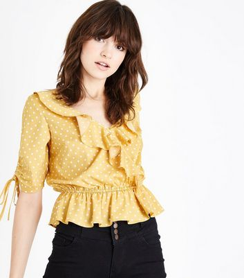 Yellow Spot Print Wrap Front Frill Top