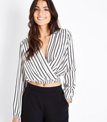 White Stripe Wrap Front Crop Top