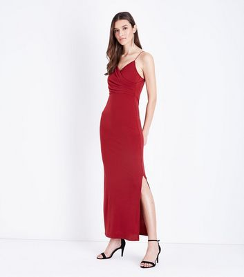 Burgundy Ruched Front Maxi Dress