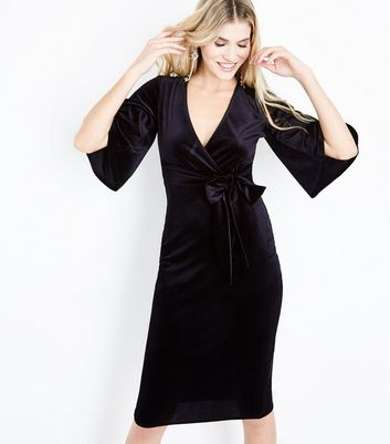 Black Velvet Wrap Front Midi Dress