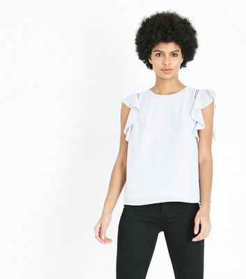 Pale Grey Cut Out Frill Sleeve Top