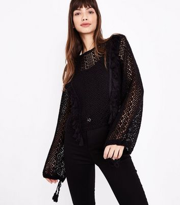 Black Fringed Lace Knit Jumper