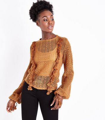 Tan Fringed Lace Knit Jumper