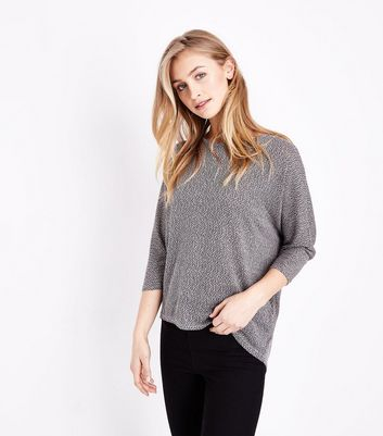 Pink and Grey Fine Knit Batwing Top