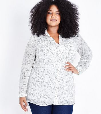 Curves Black and White Spot Print Chiffon Shirt
