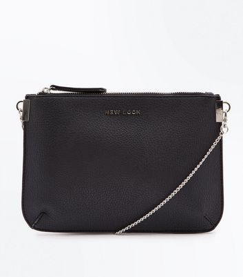 Black New Look Branded Chain Shoulder Bag