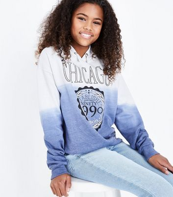 Teens Blue Chicago Print Ombre Hoodie