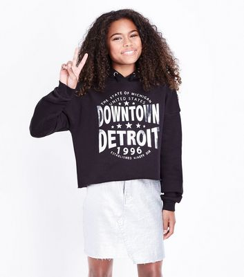 Teens Black Metallic Detroit Slogan Hoodie