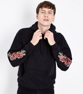 Black Floral Embroidered Sleeve Hoodie