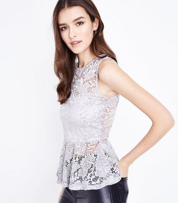 Pale Grey Sequin Lace Peplum Top